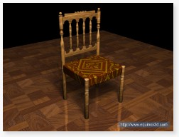 Antique chair 3D CAD rendering photorealism