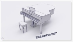 Baby grand piano with HDR environment lighting 3D CAD rendering photorealism