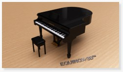 Baby grand piano with HDR environment lighting and depth-of-field 3D CAD rendering photorealism